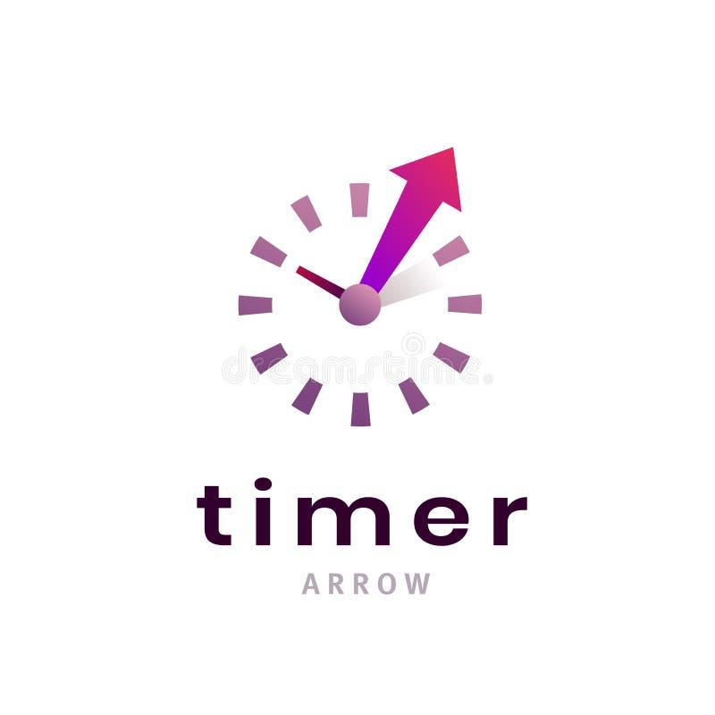 Het pictogram van het tijdopnemerteken Creatief chronometersymbool Klok, het embleemontwerp van het tijdbedrijf, bedrijfsconcept vector illustratie
