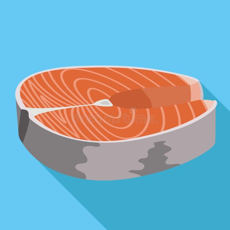 Het pictogram van het tonijnlapje vlees, vlakke stijl vector illustratie