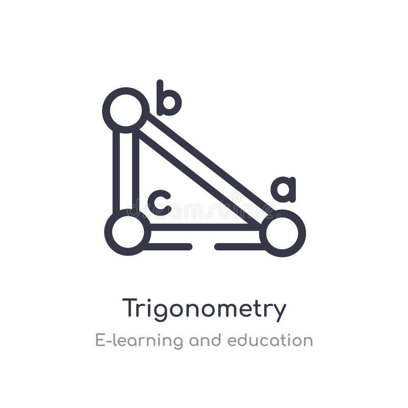 het pictogram van het trigonometrieoverzicht ge?soleerde lijn vectorillustratie van e-leert en onderwijsinzameling editable dunne stock illustratie