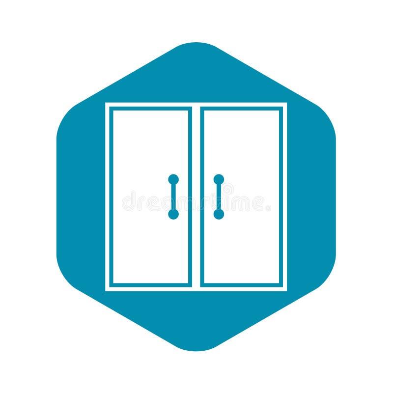 Het pictogram van twee glasdeuren, eenvoudige stijl vector illustratie