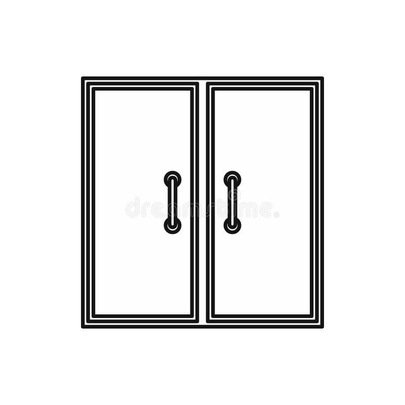 Het pictogram van twee glasdeuren, overzichtsstijl royalty-vrije illustratie