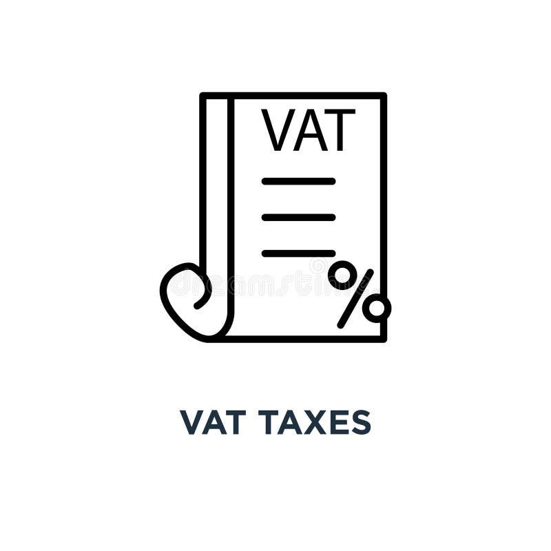 Het pictogram van vatbelastingen Lineaire eenvoudige elementenillustratie Op de toegevoegde waarde stock illustratie