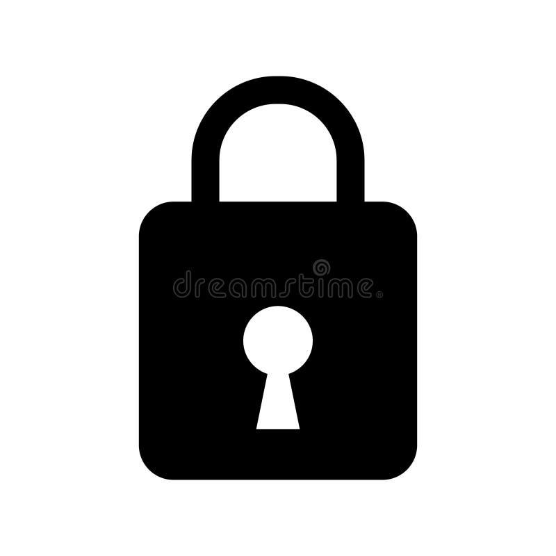 Het pictogram van het veiligheidshangslot, Gesloten slot vectorpictogram stock afbeeldingen
