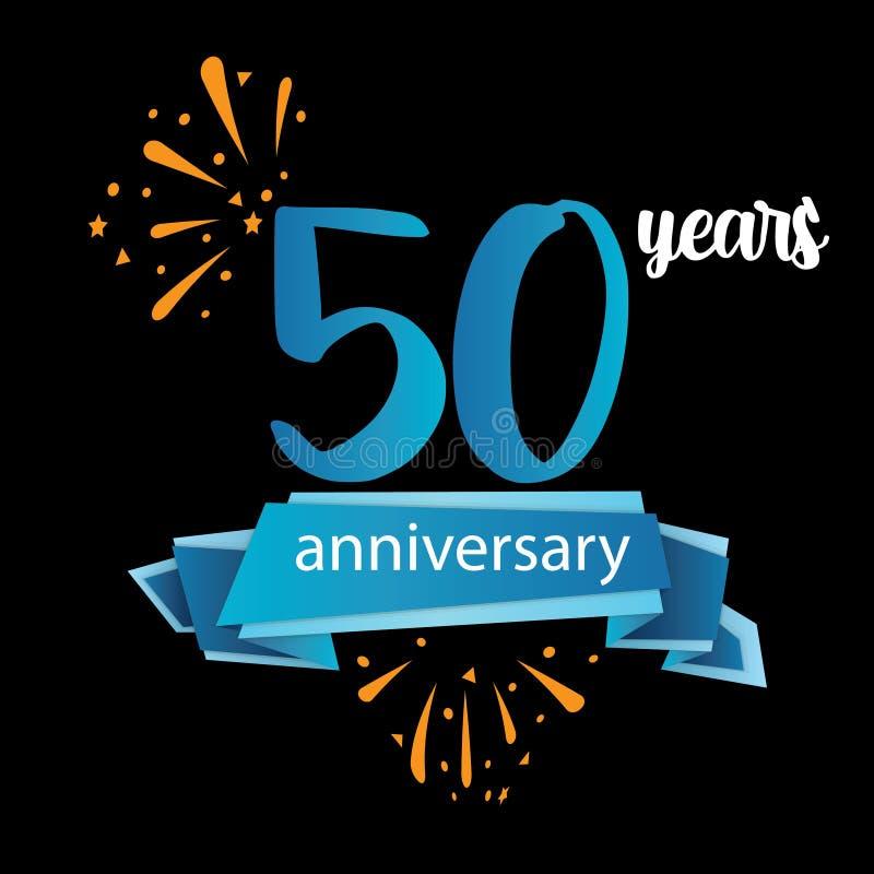 het pictogram van het 50 verjaardagspictogram, het embleemetiket van de jarenverjaardag Vector illustratie Ge?soleerd op zwarte a royalty-vrije illustratie