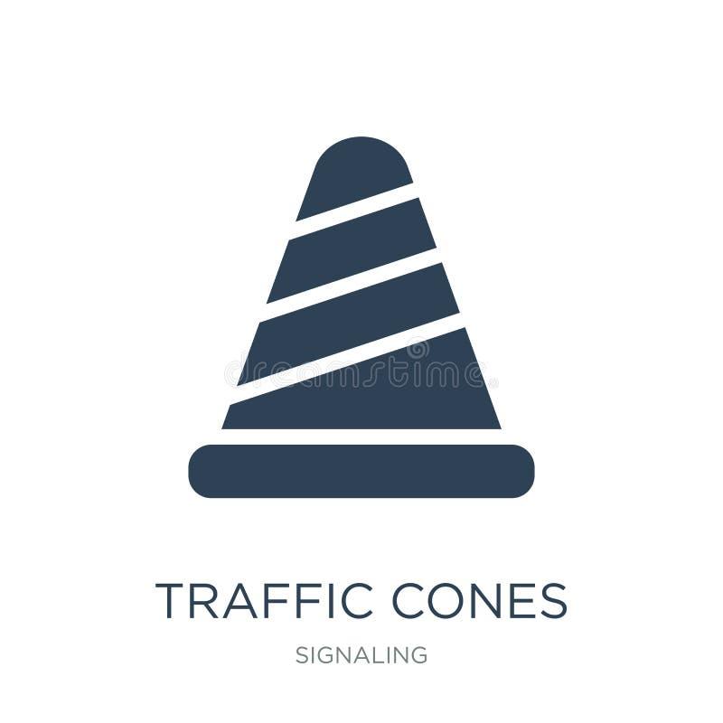 het pictogram van verkeerskegels in in ontwerpstijl het pictogram van verkeerskegels op witte achtergrond wordt geïsoleerd die he vector illustratie