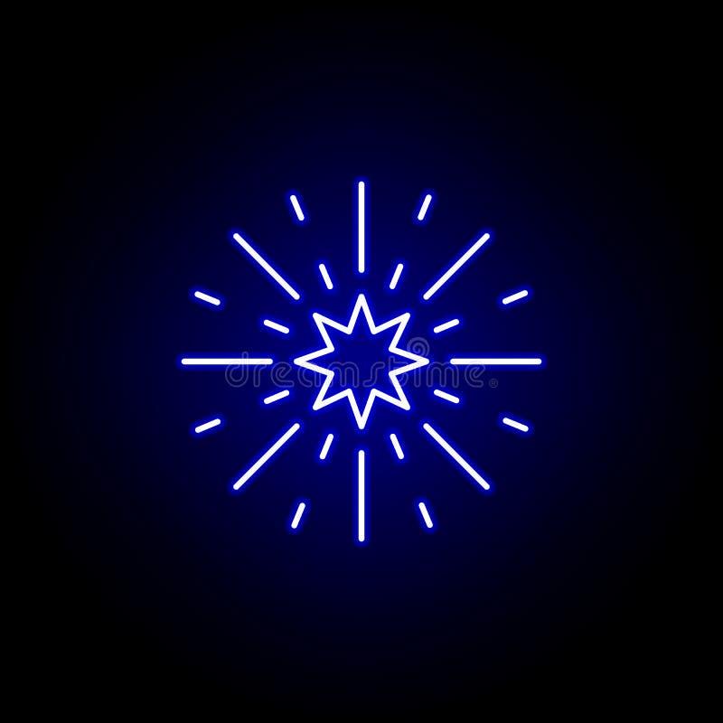 Het pictogram van het verkiezingenvuurwerk in neonstijl De tekens en de symbolen kunnen voor Web, embleem, mobiele toepassing, UI vector illustratie
