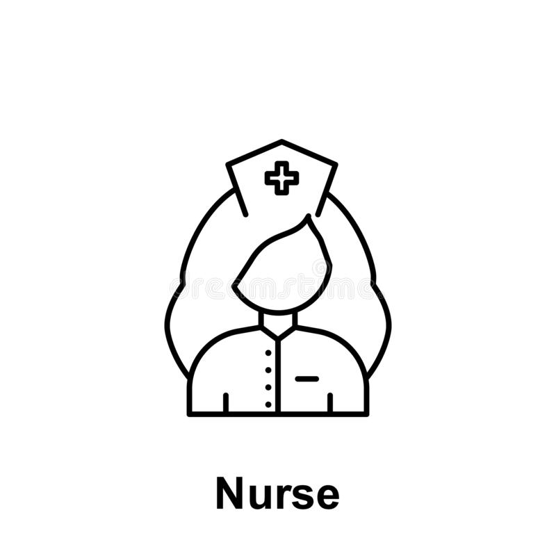 Het pictogram van het verpleegstersoverzicht Element van de illustratiepictogram van de arbeidsdag De tekens en de symbolen kunne stock illustratie