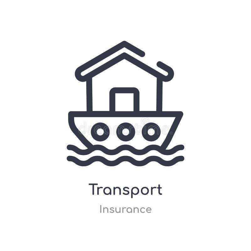 het pictogram van het vervoeroverzicht ge?soleerde lijn vectorillustratie van verzekeringsinzameling het editable dunne pictogram royalty-vrije illustratie
