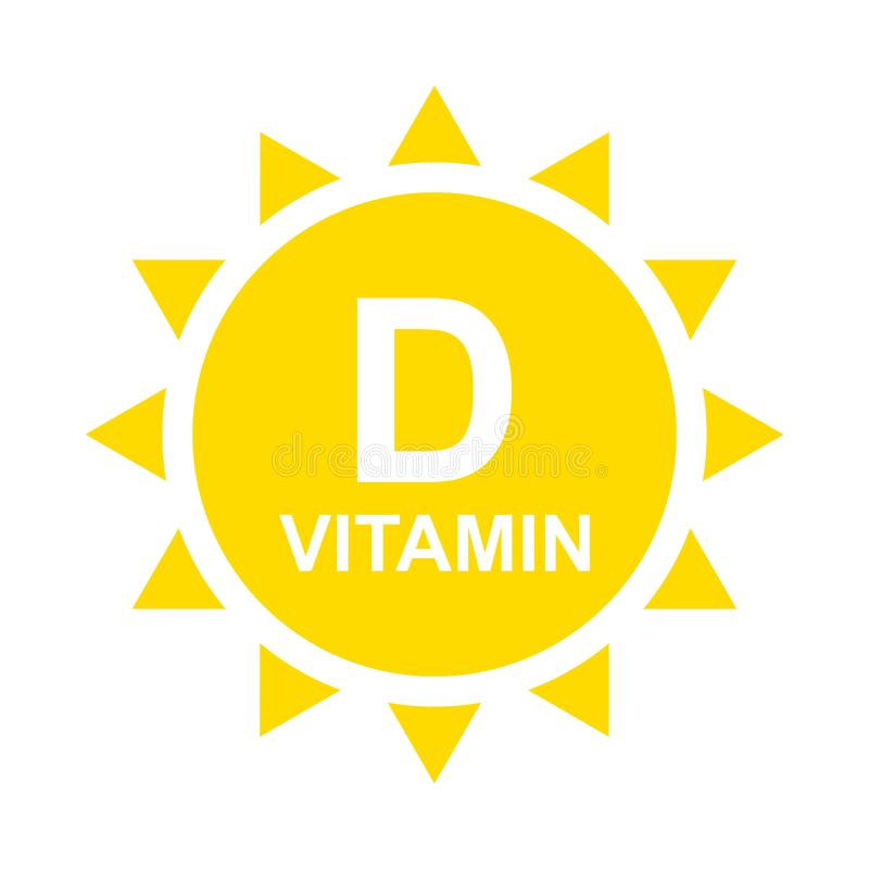 Het Pictogram van vitamined met Zon Het het glanzende etiket of pictogram van vitamined Vector illustratie royalty-vrije illustratie