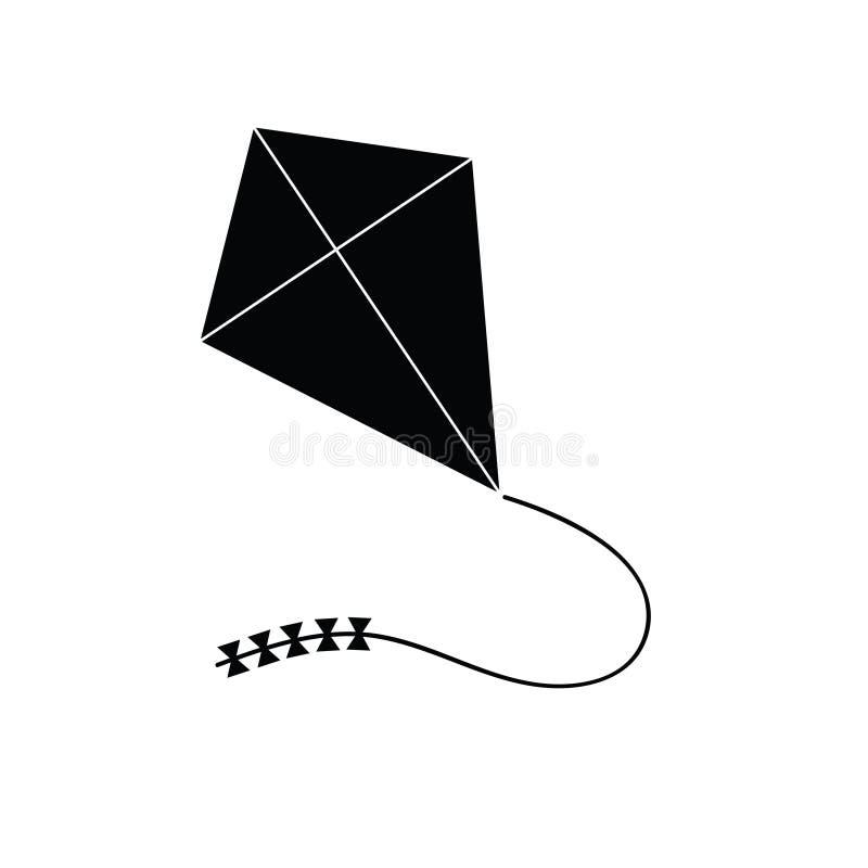 Het pictogram van het vliegersthema in zwarte illustratie stock illustratie