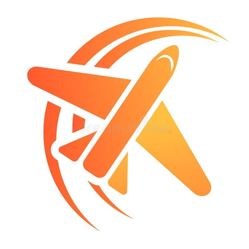 Het pictogram van het vliegtuigreisbureau, beeldverhaalstijl royalty-vrije illustratie