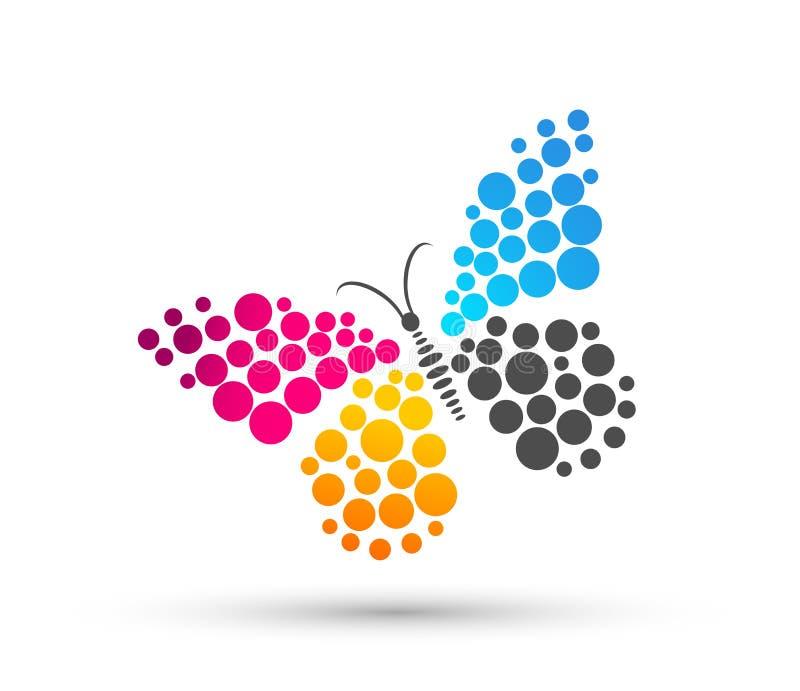 Het pictogram van het vlinderembleem op witte achtergrond vector illustratie