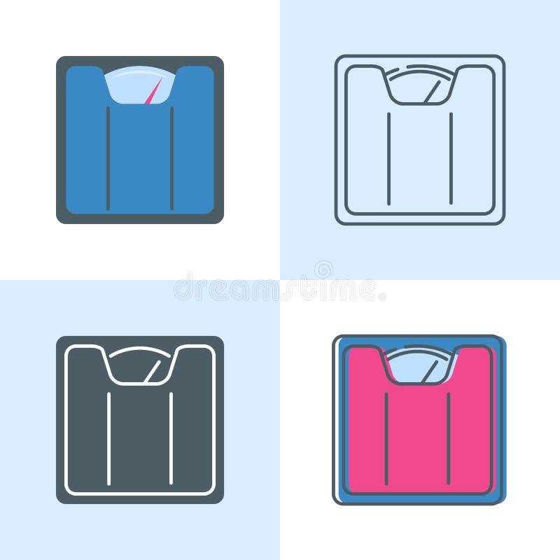Het pictogram van vloerschalen in vlakke en lijnstijl die wordt geplaatst stock illustratie