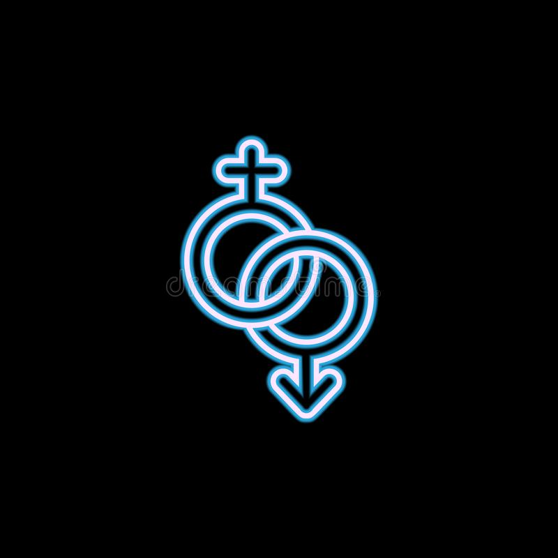 het pictogram van het vloerteken in neonstijl Één van het pictogram van de huwelijksinzameling kan voor UI, UX worden gebruikt royalty-vrije illustratie