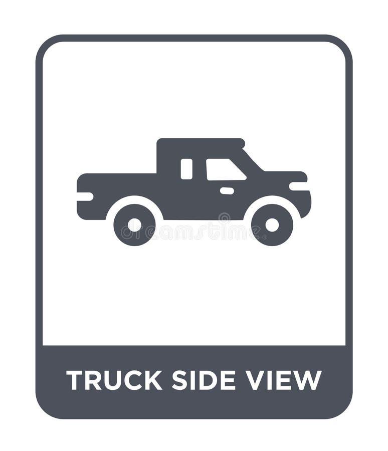 het pictogram van het vrachtwagen zijaanzicht in in ontwerpstijl het pictogram van het vrachtwagen zijaanzicht op witte achtergro vector illustratie