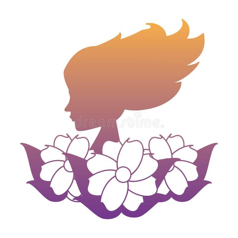 Het pictogram van het vrouwenprofiel vector illustratie