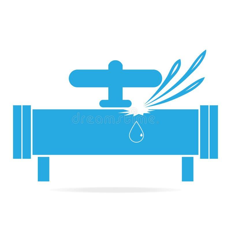 Het pictogram van het waterlek, de illustratie van het Pijppictogram royalty-vrije illustratie