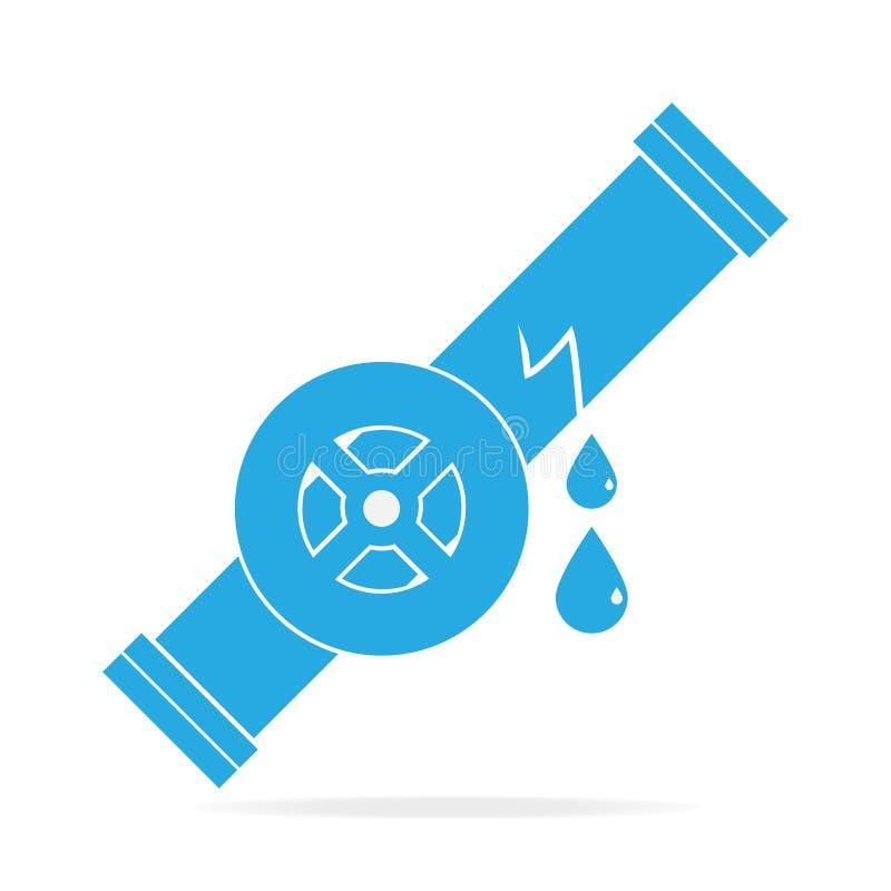 Het pictogram van het waterlek, het teken van het Pijppictogram stock illustratie