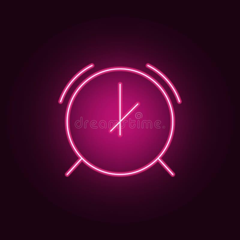 het pictogram van het wekkerneon Elementen van Maatregelenreeks Eenvoudig pictogram voor websites, Webontwerp, mobiele toepassing royalty-vrije illustratie