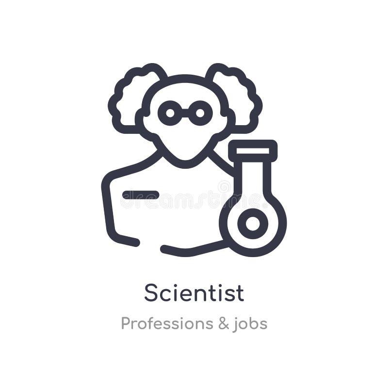 het pictogram van het wetenschapperoverzicht ge?soleerde lijn vectorillustratie van beroepen & baneninzameling het editable dunne royalty-vrije illustratie