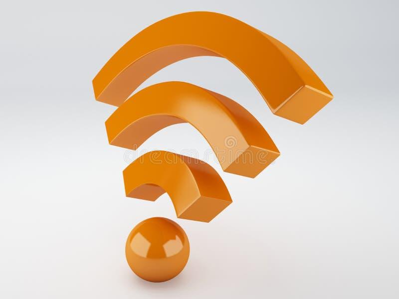 Het pictogram van Wifi 3D Illustratie stock illustratie