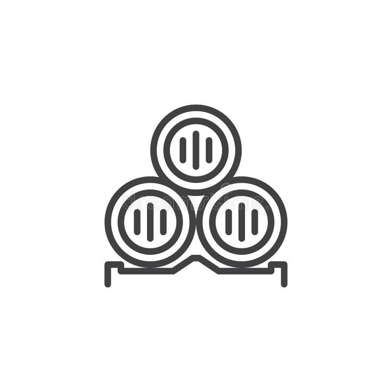 Het pictogram van het wijnvatoverzicht stock illustratie