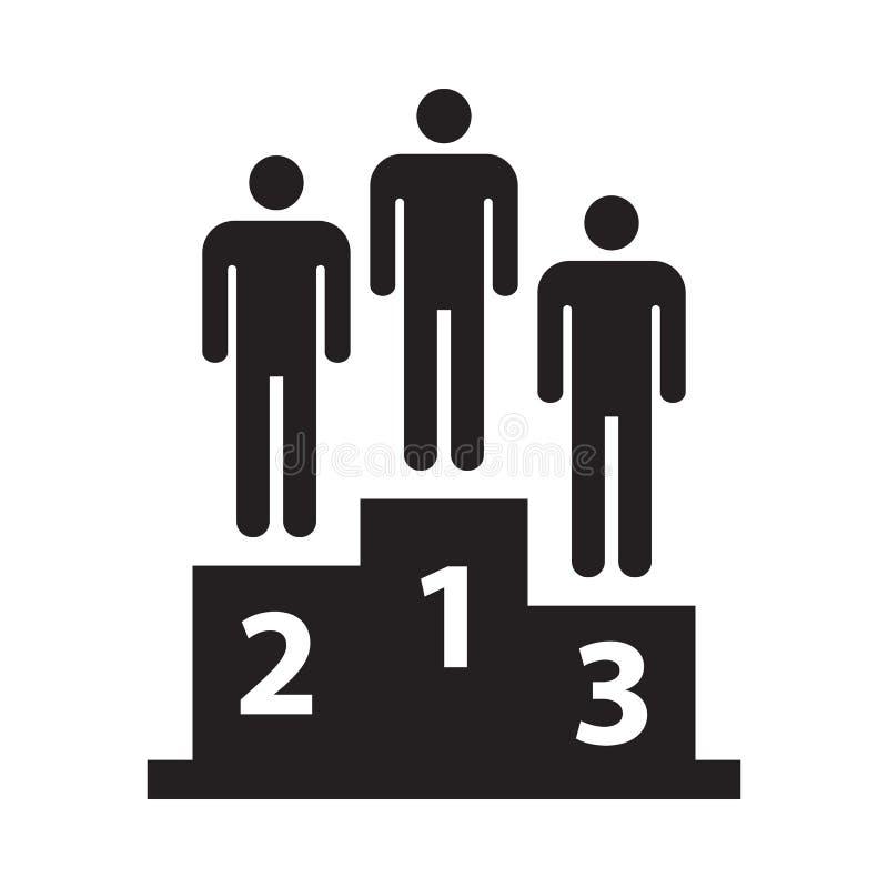 Het pictogram van het winnaarspodium, zwarte op witte achtergrond, vectorillustratie wordt geïsoleerd die stock illustratie