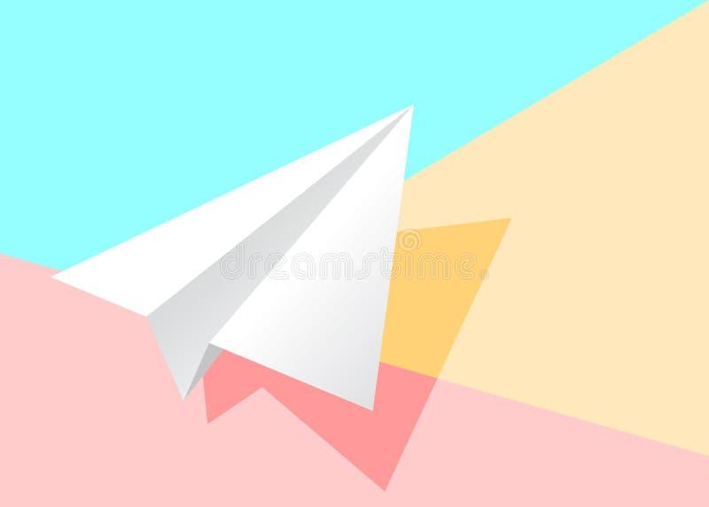 het pictogram van het Witboekvliegtuig met schaduw op roze en geel pastelkleurcol. royalty-vrije illustratie