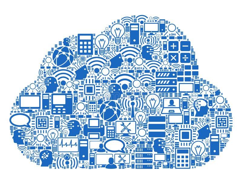 Het Pictogram van het wolkenmozaïek voor BigData en Gegevensverwerking royalty-vrije illustratie