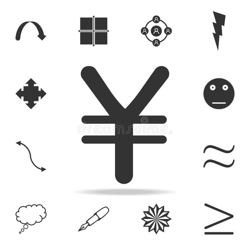Het pictogram van het Yenteken Gedetailleerde reeks Webpictogrammen en tekens Premie grafisch ontwerp Één van de inzamelingspicto royalty-vrije illustratie