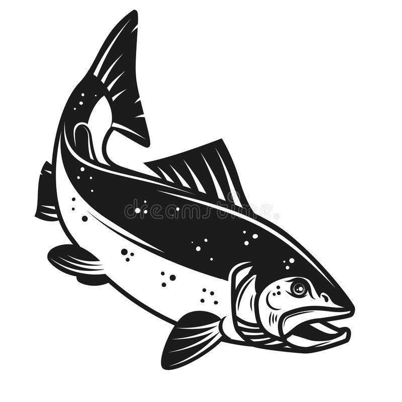 Het pictogram van zalmvissen op witte achtergrond wordt geïsoleerd die Ontwerpelement voor embleem, etiket, embleem, teken stock illustratie