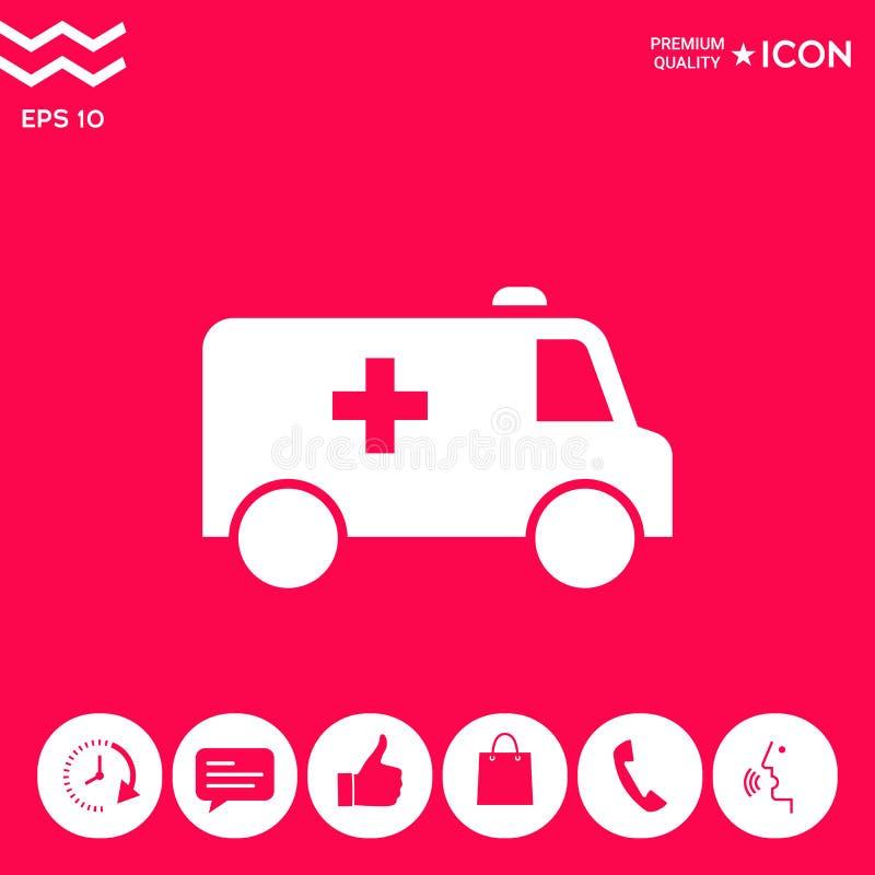 Het pictogram van het ziekenwagensymbool royalty-vrije illustratie