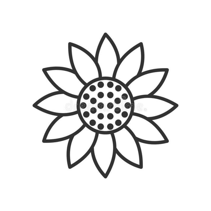 Het Pictogram van het zonnebloemoverzicht op Wit stock illustratie