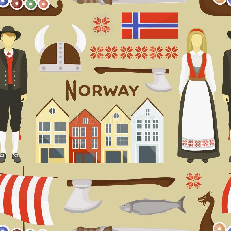 Het pictogram vastgesteld patroon van Noorwegen vector illustratie