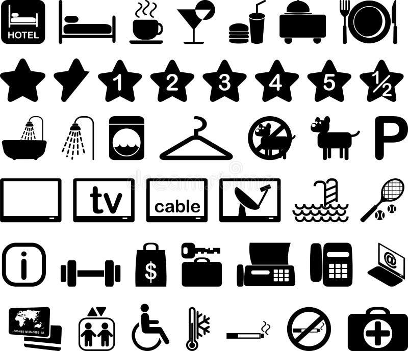 Het pictogram vastgestelde illustratie van het hotel vector illustratie