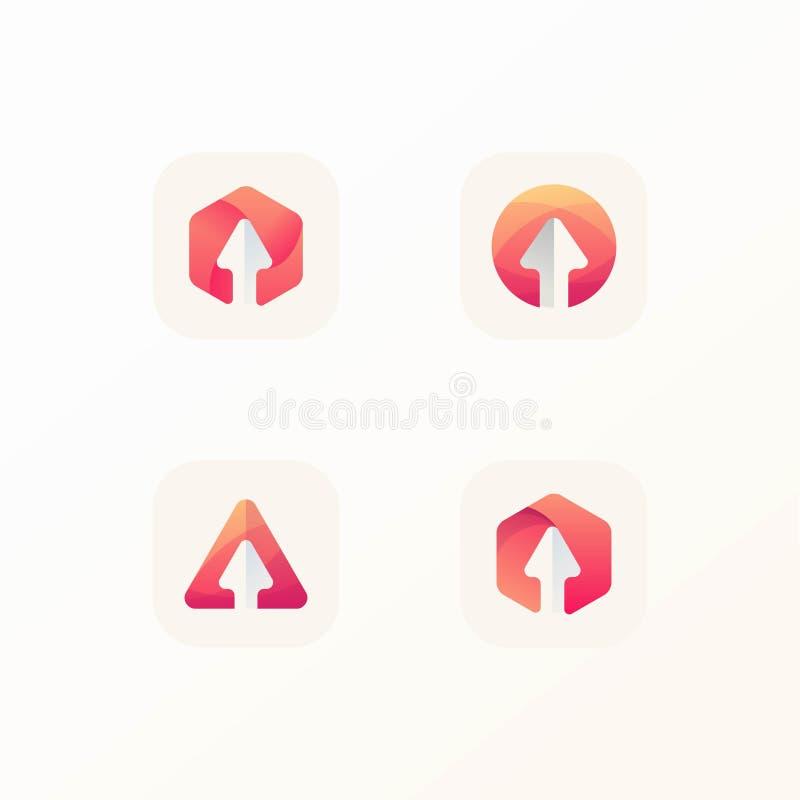 Het pictogram vastgestelde klaar van het pijlembleem om met editable hoofddossiers te gebruiken stock illustratie
