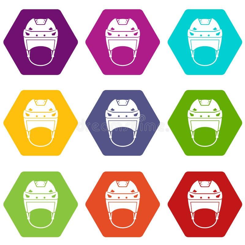 Download Het Pictogram Vastgestelde Kleur Van De Hockeyhelm Hexahedron Vector Illustratie - Illustratie bestaande uit team, spel: 107708267