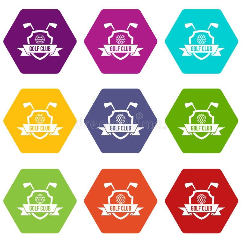 Het pictogram vastgestelde kleur van het golfclubembleem hexahedron vector illustratie
