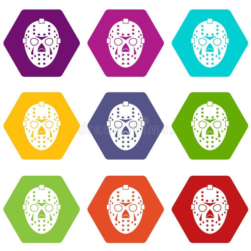 Download Het Pictogram Vastgestelde Kleur Van Het Keepermasker Hexahedron Vector Illustratie - Illustratie bestaande uit concurrerend, geïsoleerd: 107708285