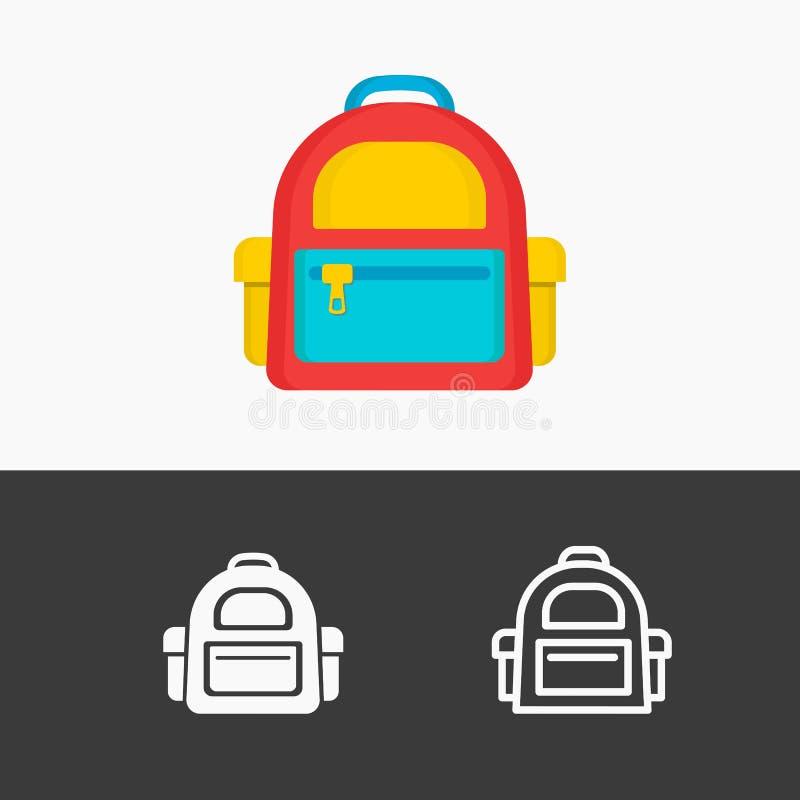 Het pictogram vastgestelde kleurrijk van de schoolrugzak, lijn, witte die stijl op achtergrond wordt geïsoleerd vector illustratie