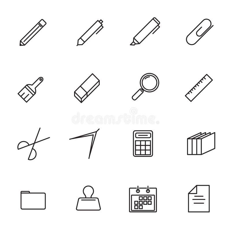 Het pictogram vastgestelde vector van de kantoorbehoeften dunne lijn Terug naar school en Klasse r stock illustratie