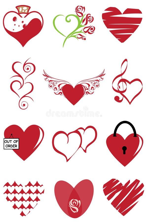 Het pictogram vastgestelde vectorillustratie van de hartvalentijnskaart Grafisch, tierelantijntjes royalty-vrije illustratie