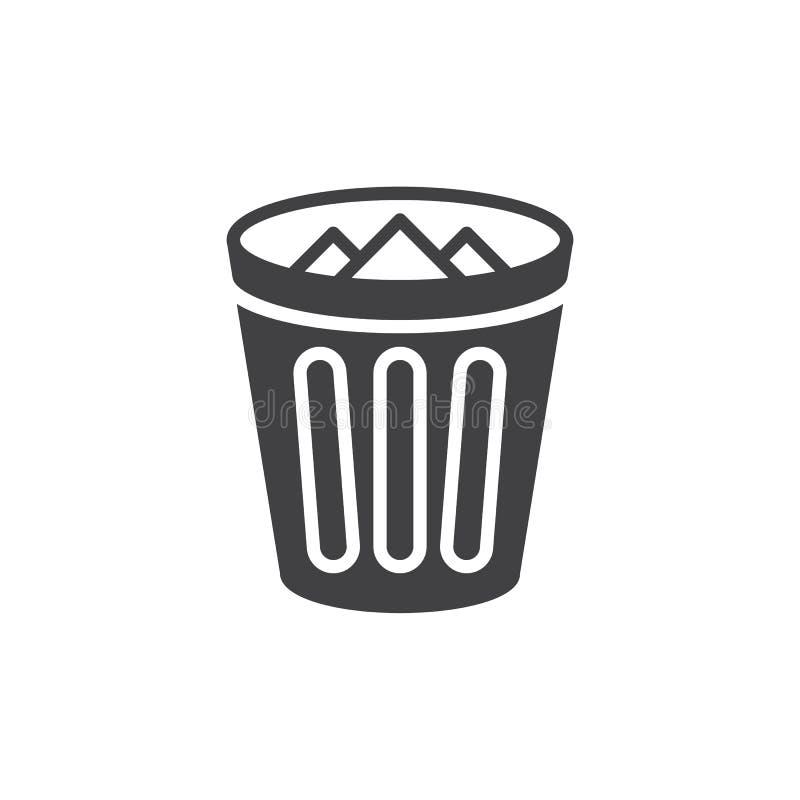 Het pictogram vector, gevuld vlak teken van de afvalbak, stevig die pictogram op wit wordt geïsoleerd royalty-vrije illustratie