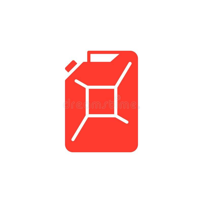 Het pictogram vector, gevuld vlak teken van de benzinejerrycan, stevig kleurrijk pictogram op wit vector illustratie