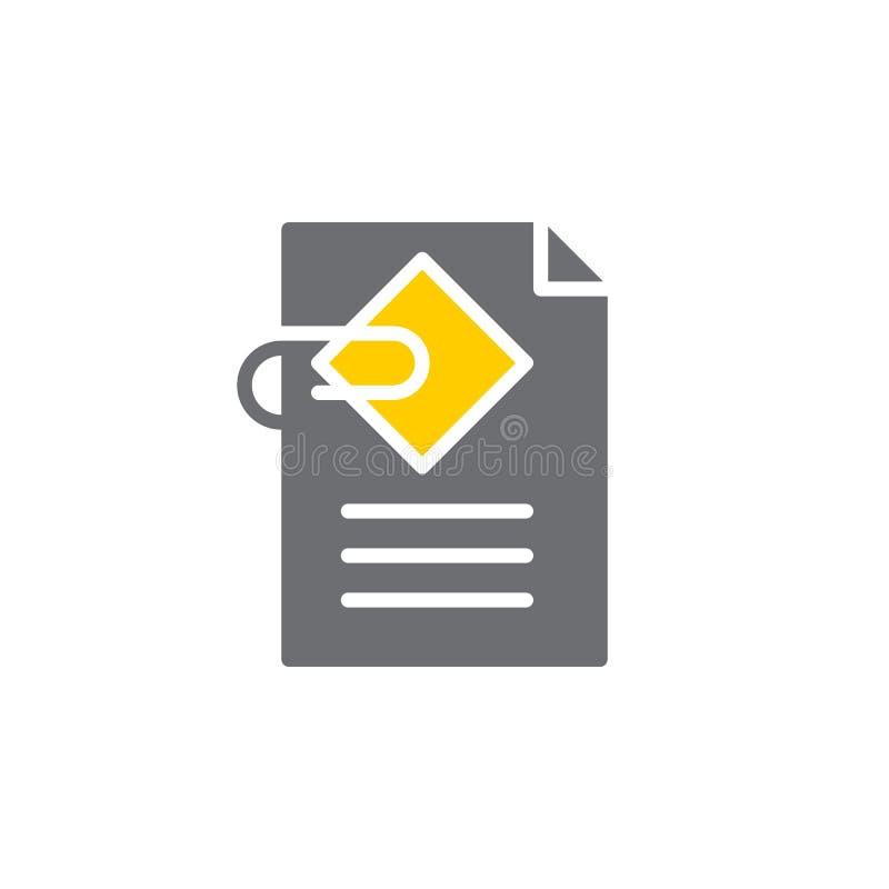 Het pictogram vector, gevuld vlak teken van de documentgehechtheid, stevig kleurrijk die pictogram op wit wordt geïsoleerd royalty-vrije illustratie