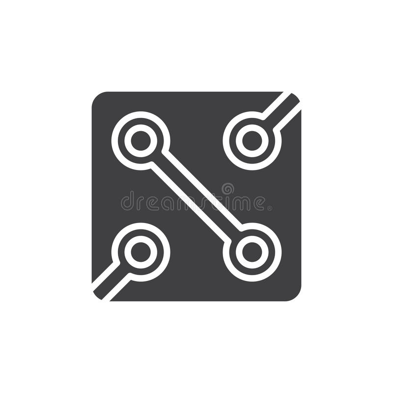 Het pictogram vector, gevuld vlak teken van de elektronikakring, stevig die pictogram op wit wordt geïsoleerd vector illustratie