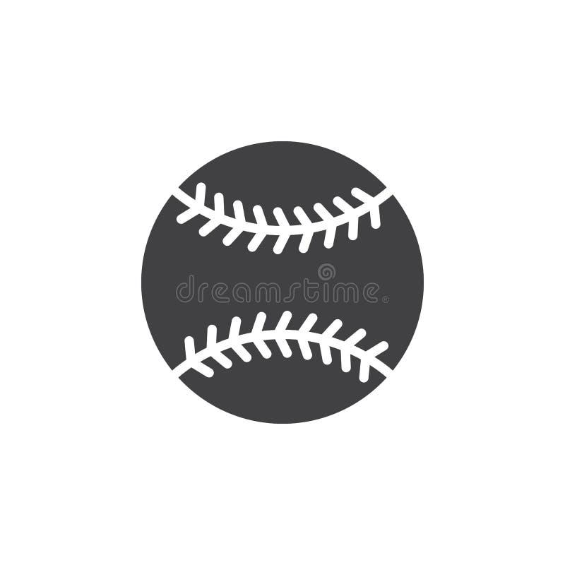 Het pictogram vector, gevuld vlak teken van de honkbalbal, stevig die pictogram op wit wordt geïsoleerd royalty-vrije illustratie