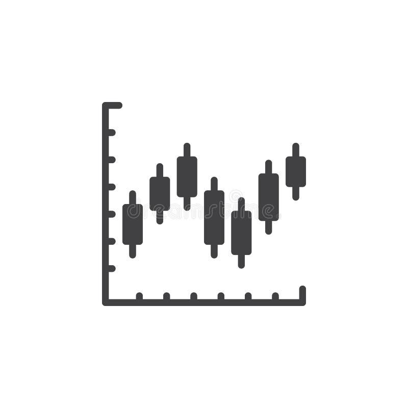 Het pictogram vector, gevuld vlak teken van de kandelaargrafiek, stevig pictogram dat op wit wordt geïsoleerd royalty-vrije illustratie