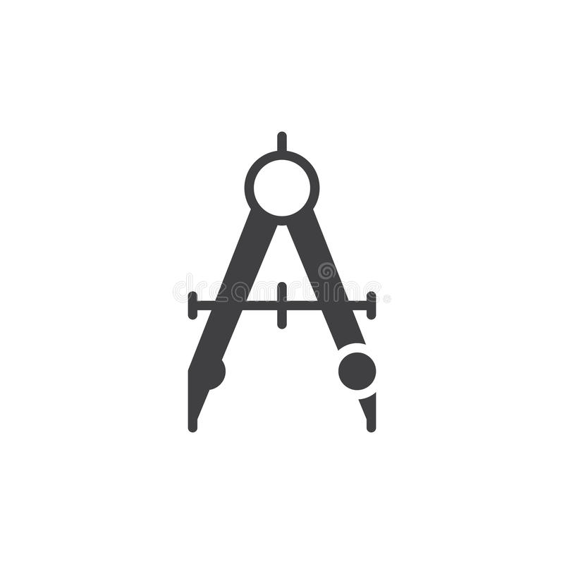 Het pictogram vector, gevuld vlak teken van de kompasverdeler, stevig die pictogram op wit wordt geïsoleerd vector illustratie