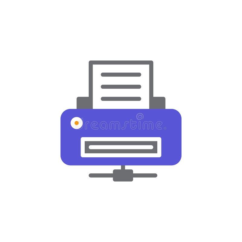 Het pictogram vector, gevuld vlak teken van de netwerkprinter, stevig kleurrijk die pictogram op wit wordt geïsoleerd vector illustratie